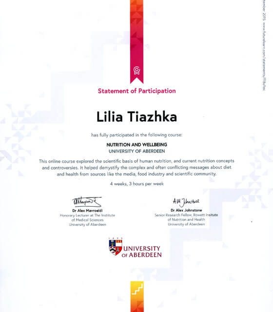 Certificate for the course NUTRITION AND WELLBEING (UNIVERSITY OF ABERDEEN)